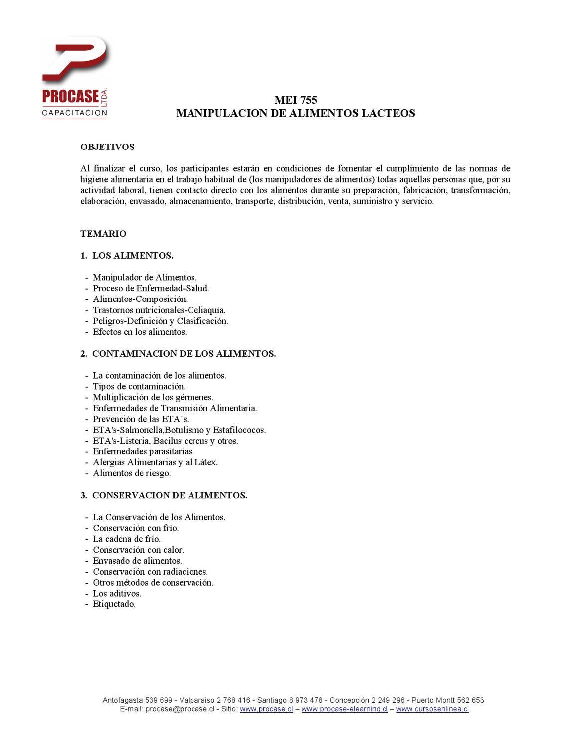 Curso mei 755 manipulaci n de alimentos lacteos by procase capacitaci n ltda issuu - Temario curso manipulador de alimentos ...