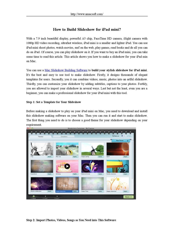 How to Build/Make a Slideshow for iPad mini by lee Jane - issuu