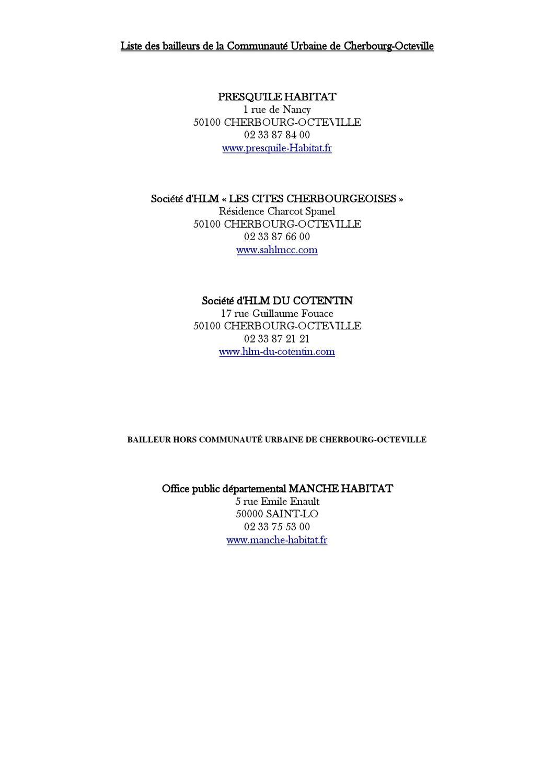 Liste Des Bailleurs De La Cuc1 By Ville Equeurdreville Hainneville