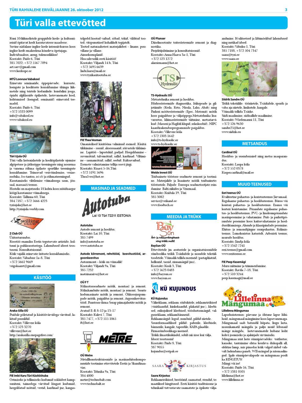 d524e7c2a4f 26.10.2012 - Türi Rahvalehe Türi ettevõtete kataloog by Tyri Development  Agency - issuu