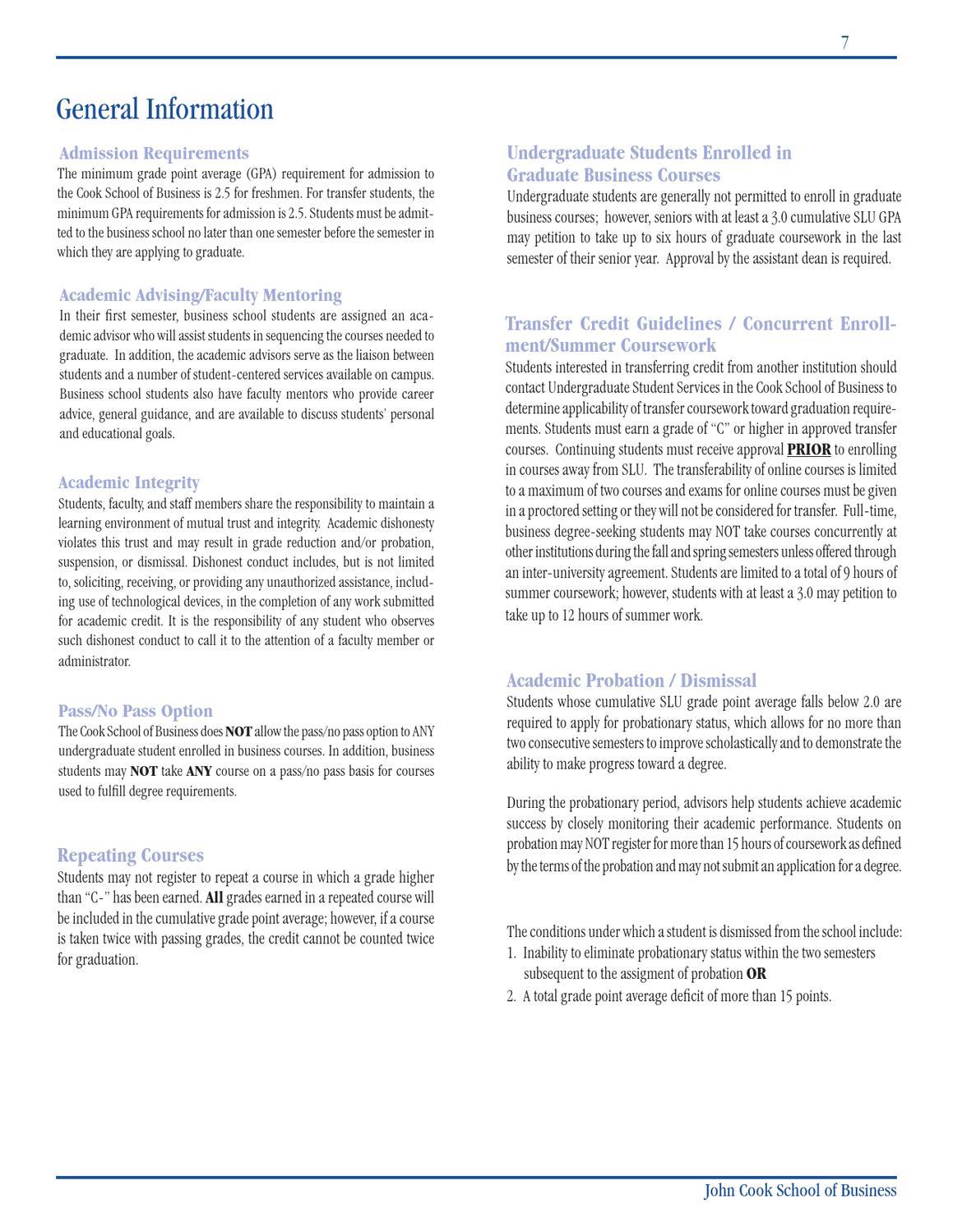 Cook School Undergraduate Business Program Book by Richard A