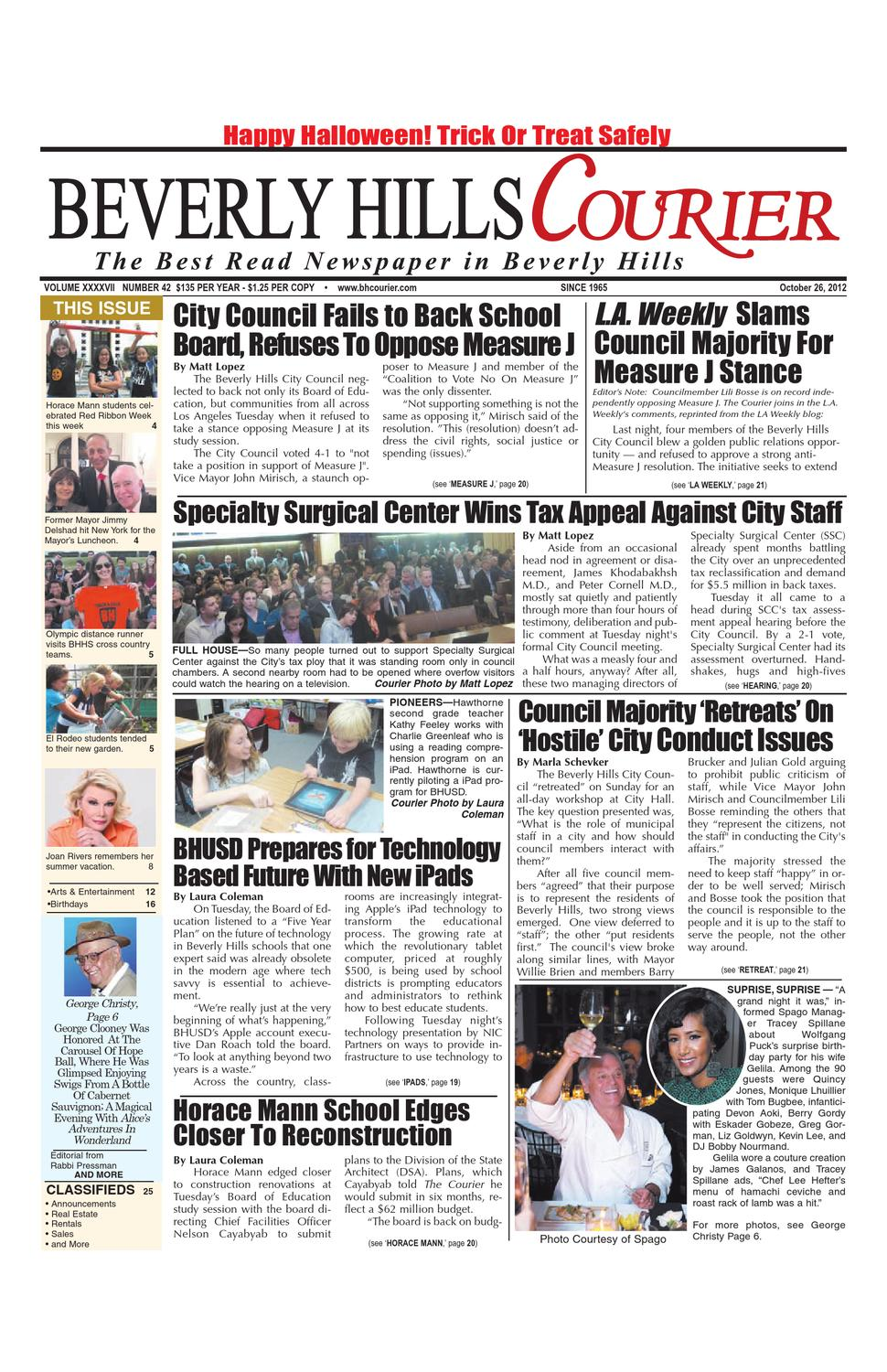 BH Courier 10-26-2012 E-edition by The Beverly Hills Courier - issuu