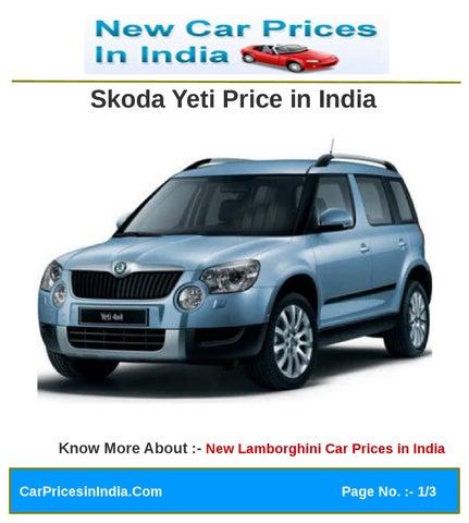 Skoda Yeti Price In India By Micro Sites2012 Issuu