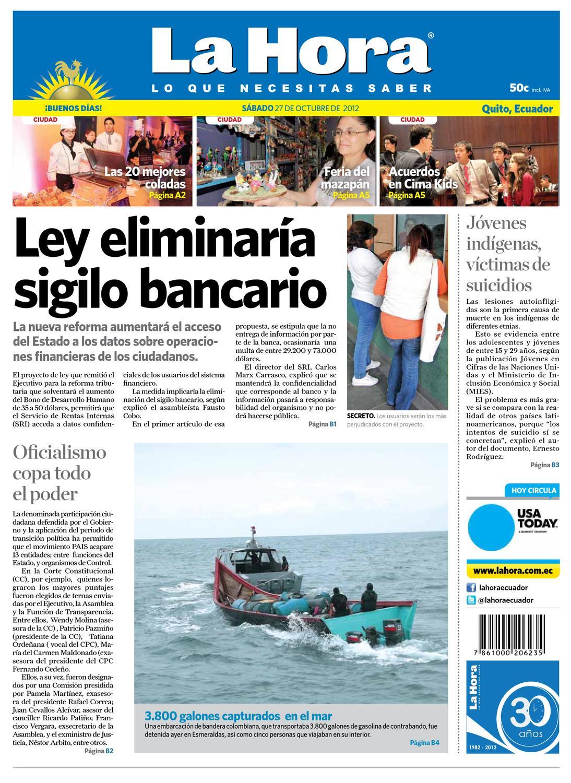 066ed4f3 Edición impresa Nacional del 27 de octubre de 2012 by Diario La Hora  Ecuador - issuu