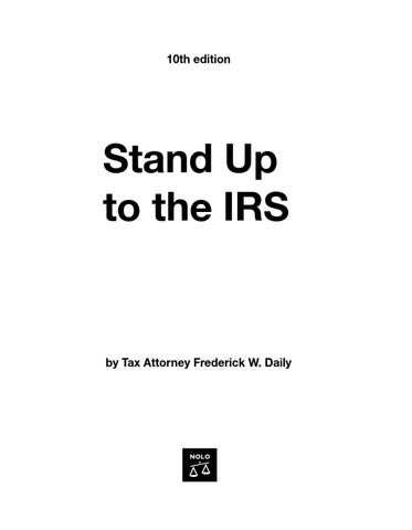 Page 1. 10th edition. Stand Up to the IRS