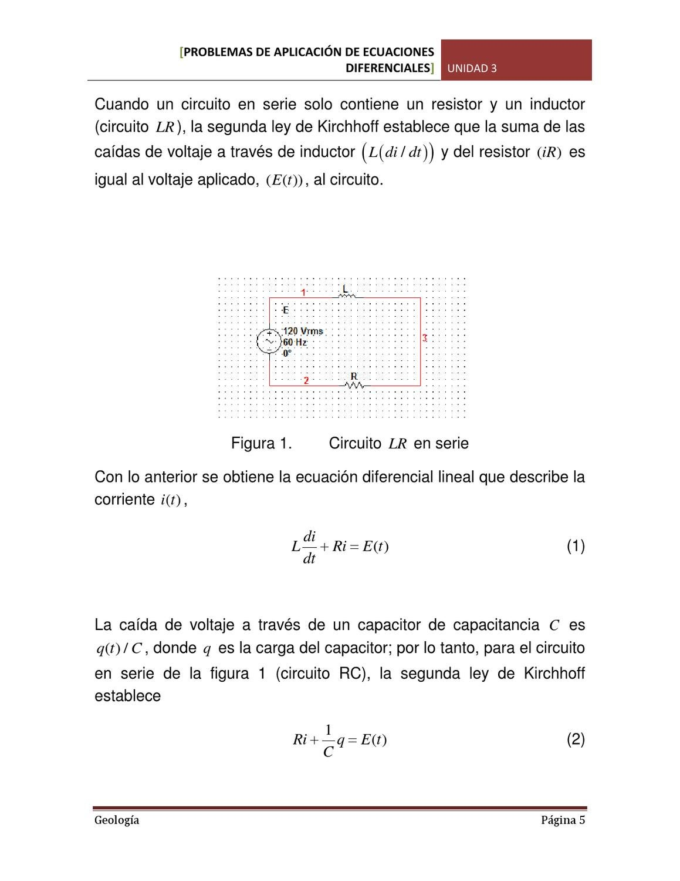 Circuito En Serie : Problemas de aplicación de ecuaciones diferenciales by gerson
