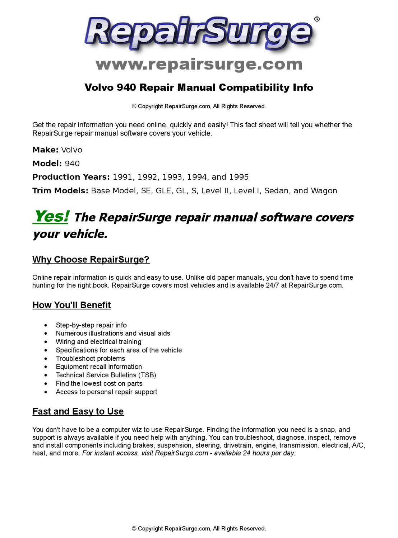 Volvo 940 service & repair manual - Volvotips.com