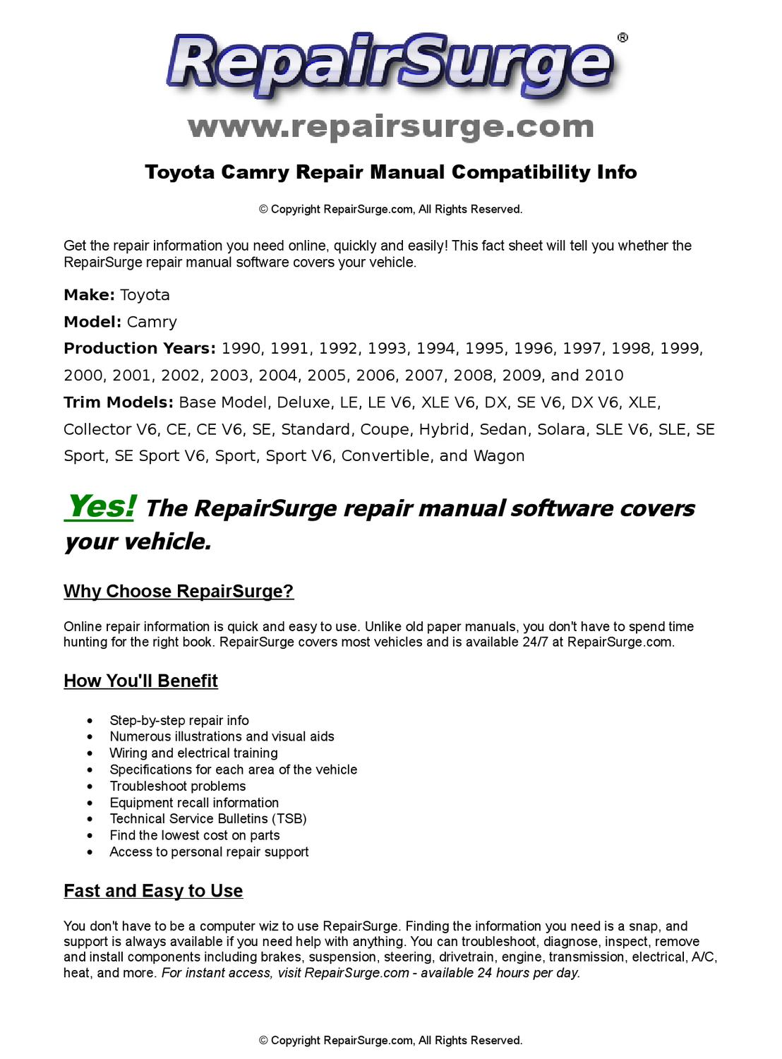 Toyota Camry Online Repair Manual For 1990  1991  1992  1993  1994  1995  1996  1997  1998  1999