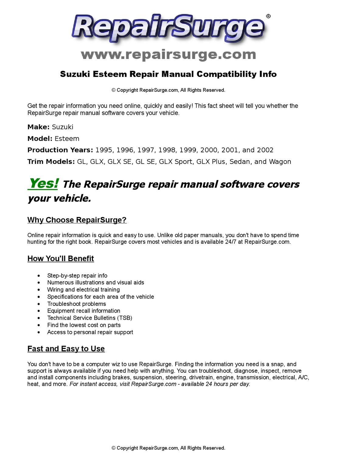 Suzuki Esteem Online Repair Manual For 1995, 1996, 1997, 1998, 1999, 2000,  2001, and 2002 by RepairSurge - issuu
