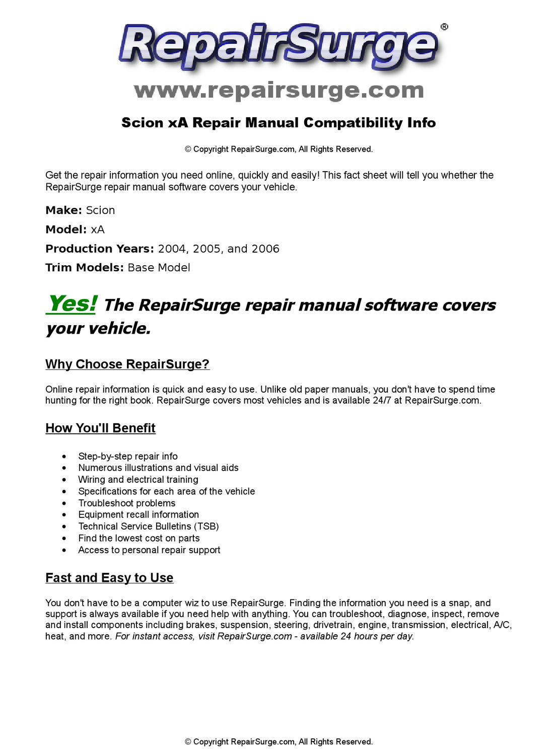 scion xa online repair manual for 2004 2005 and 2006 by. Black Bedroom Furniture Sets. Home Design Ideas