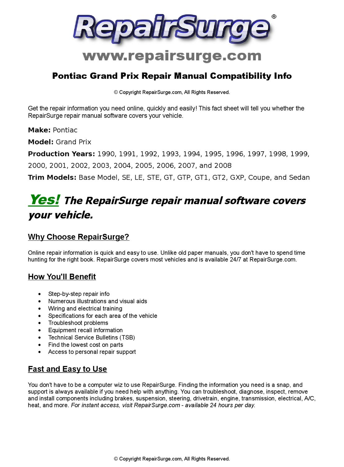 Pontiac Grand Prix Online Repair Manual For 1990, 1991, 1992, 1993, 1994,  1995, 1996, 1997, 1998, 19 by RepairSurge - issuu