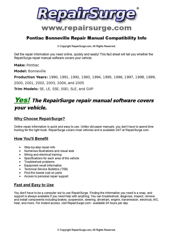 Pontiac Bonneville Online Repair Manual For 1990, 1991, 1992, 1993, 1994,  1995, 1996, 1997, 1998, 19 by RepairSurge - issuu
