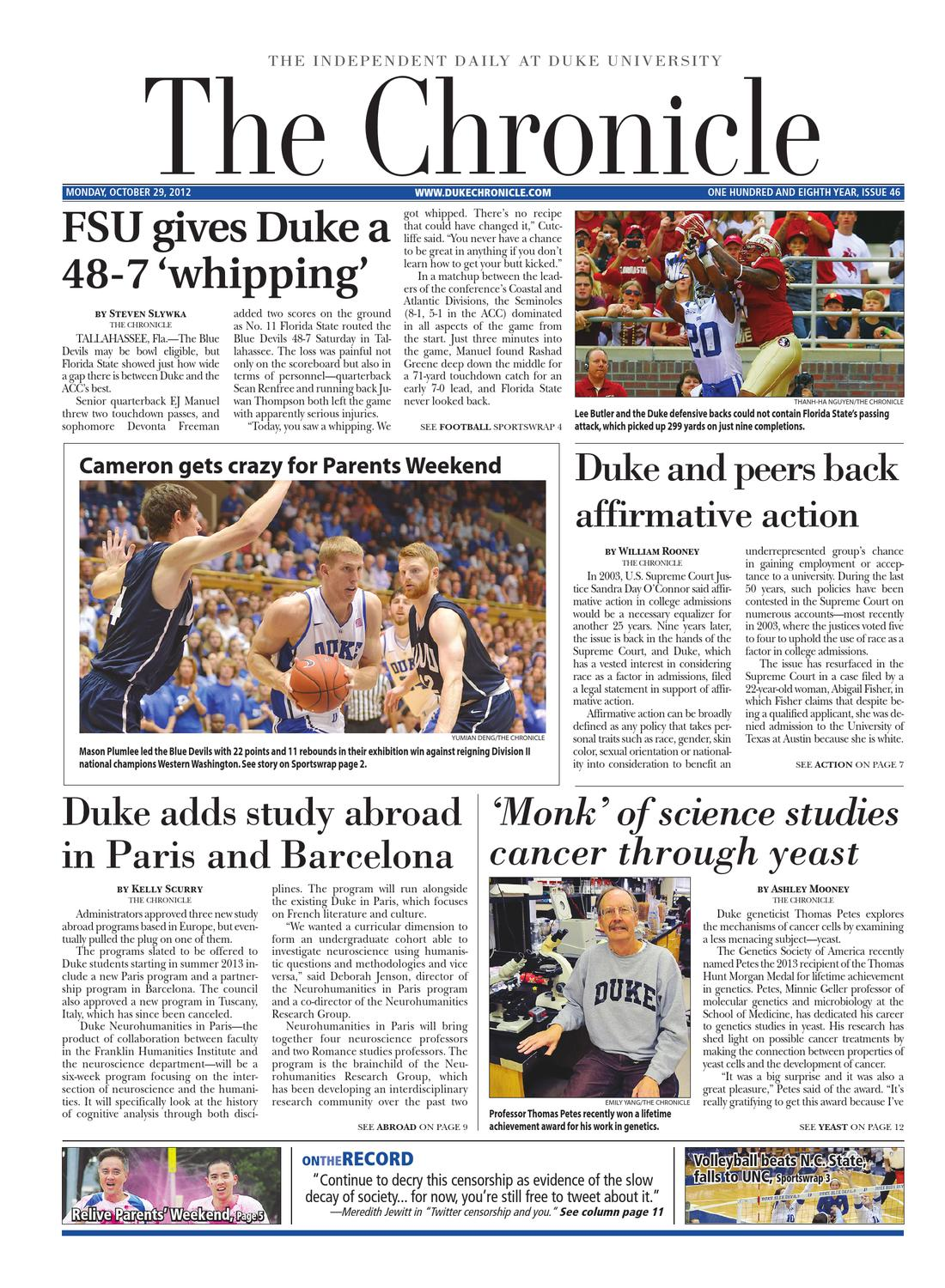 Oct  29, 2012 issue of The Chronicle by Duke Chronicle - issuu