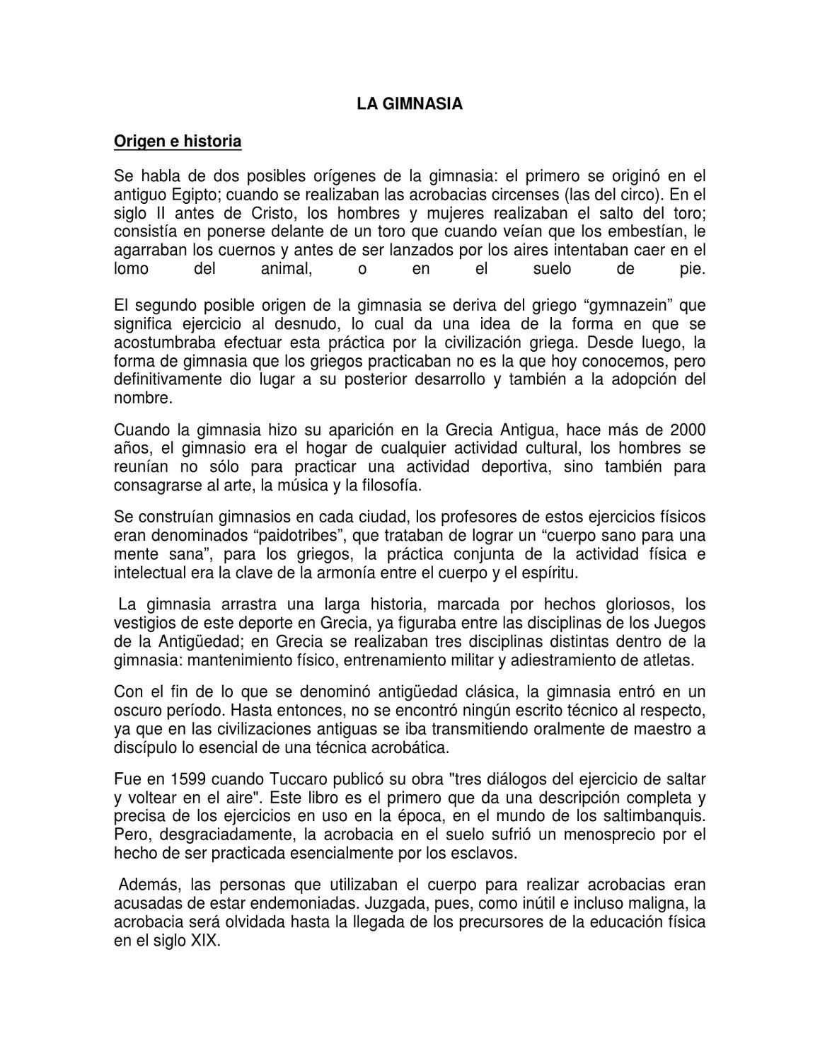 Lectura origen e historia de la gimnasia by jair arango for Gimnasia informacion