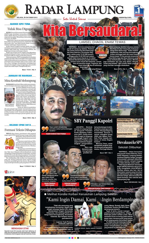 Radar Lampung Selasa 30 Oktober 2012 By Ayep Kancee Issuu Produk Ukm Bumn Mumtaz Cane 93 Original