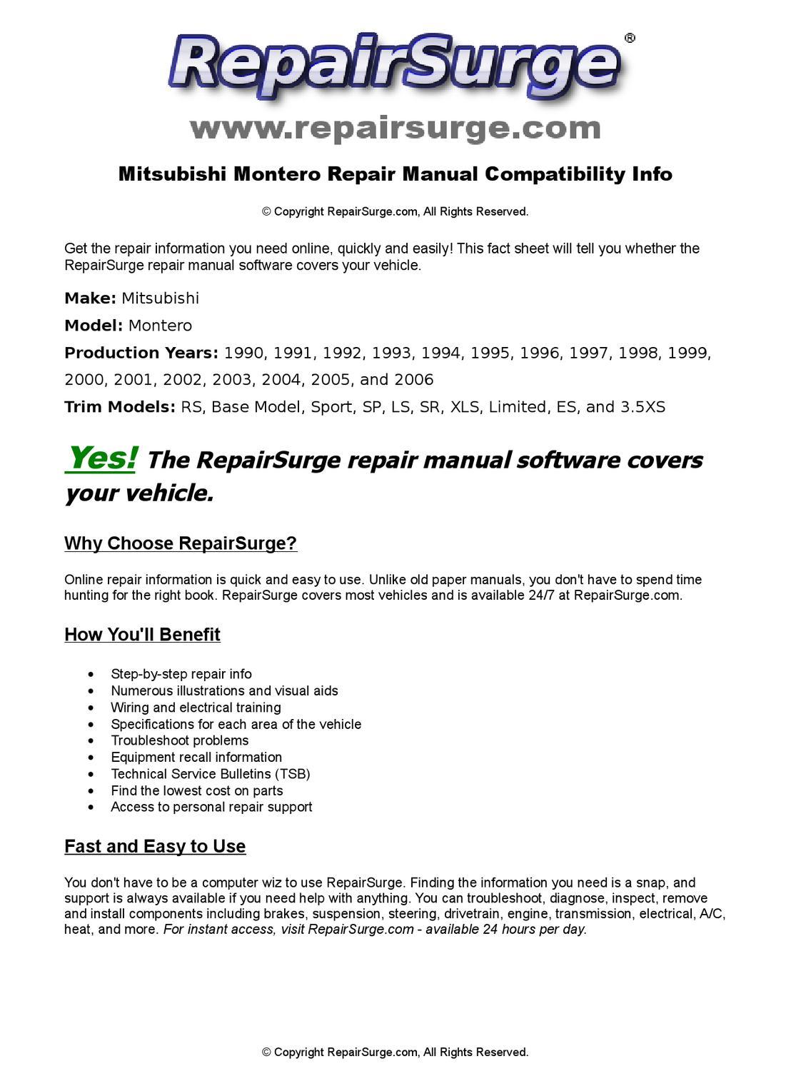 Mitsubishi Montero Online Repair Manual For 1990, 1991, 1992, 1993, 1994,  1995, 1996, 1997, 1998, 19 by RepairSurge - issuu
