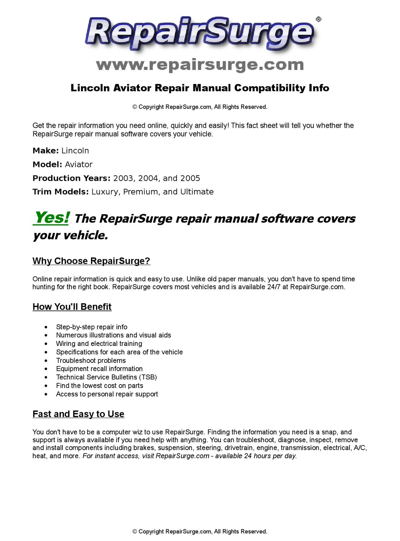 Lincoln Aviator Online Repair Manual For 2003, 2004, and 2005 by  RepairSurge - issuu