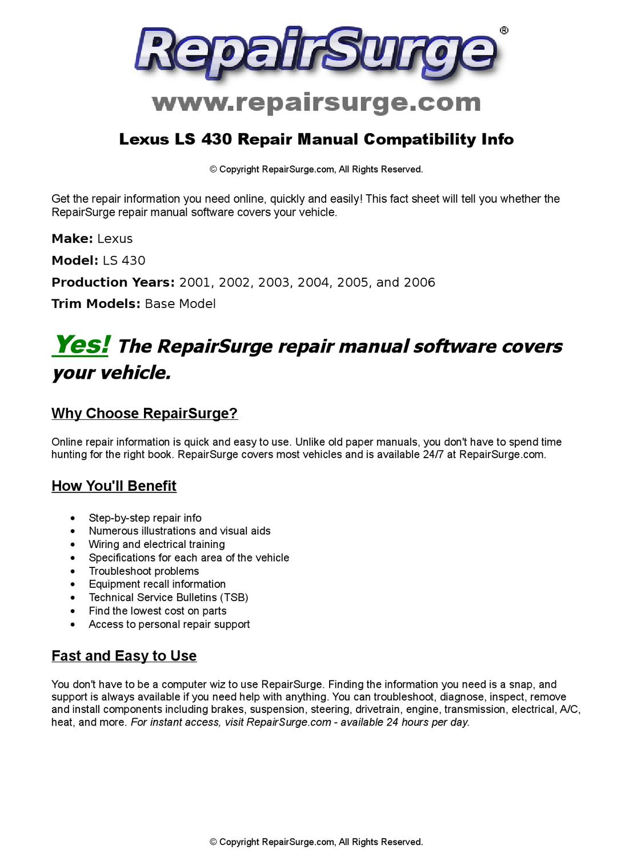 Lexus LS 430 Online Repair Manual For 2001, 2002, 2003, 2004, 2005, and  2006 by RepairSurge - issuu