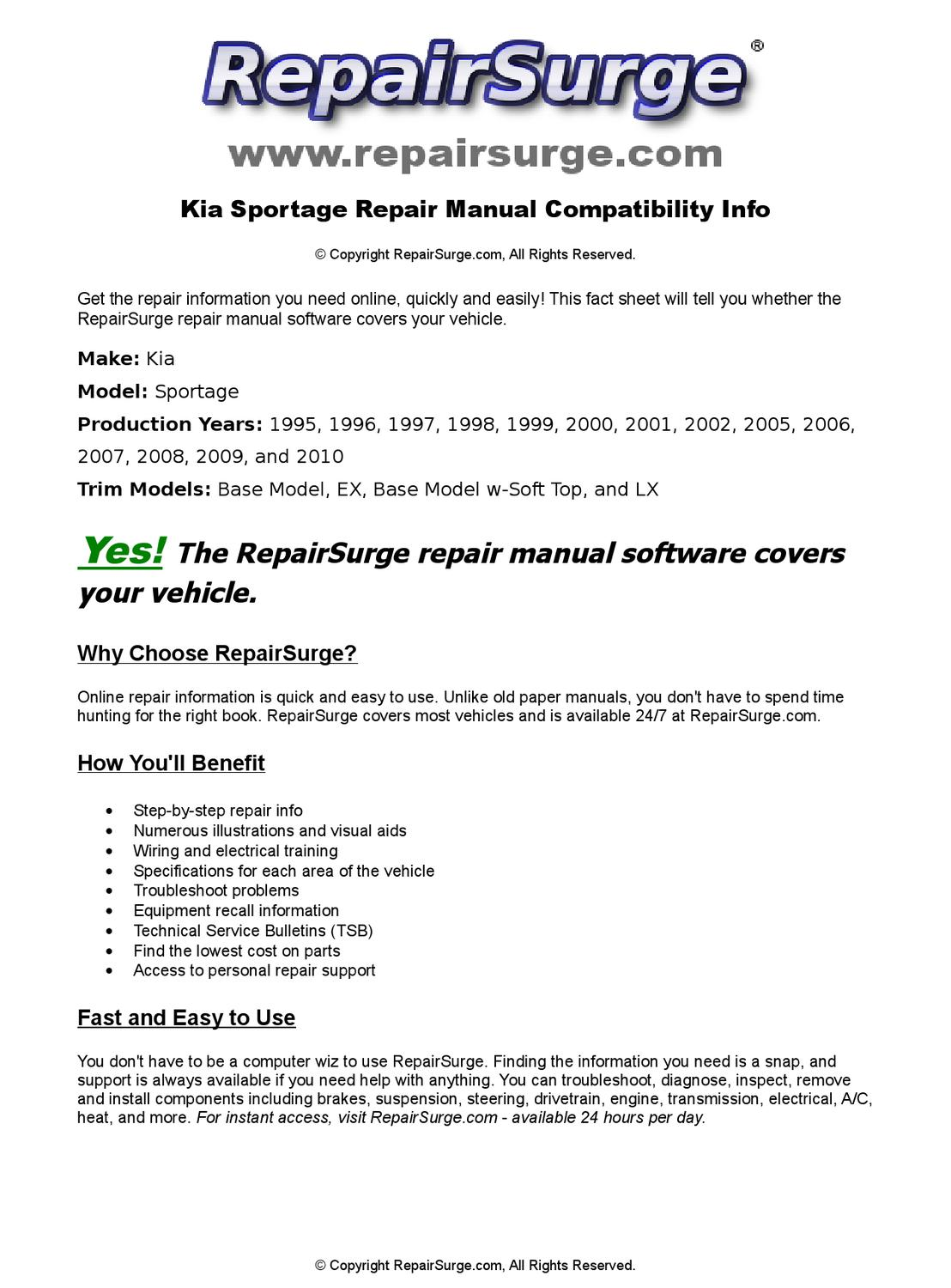 Kia Sportage Online Repair Manual For 1995, 1996, 1997, 1998, 1999, 2000,  2001, 2002, 2005, 2006, 20 by RepairSurge - issuu