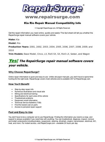 kia rio service repair manual 2006 2009 download