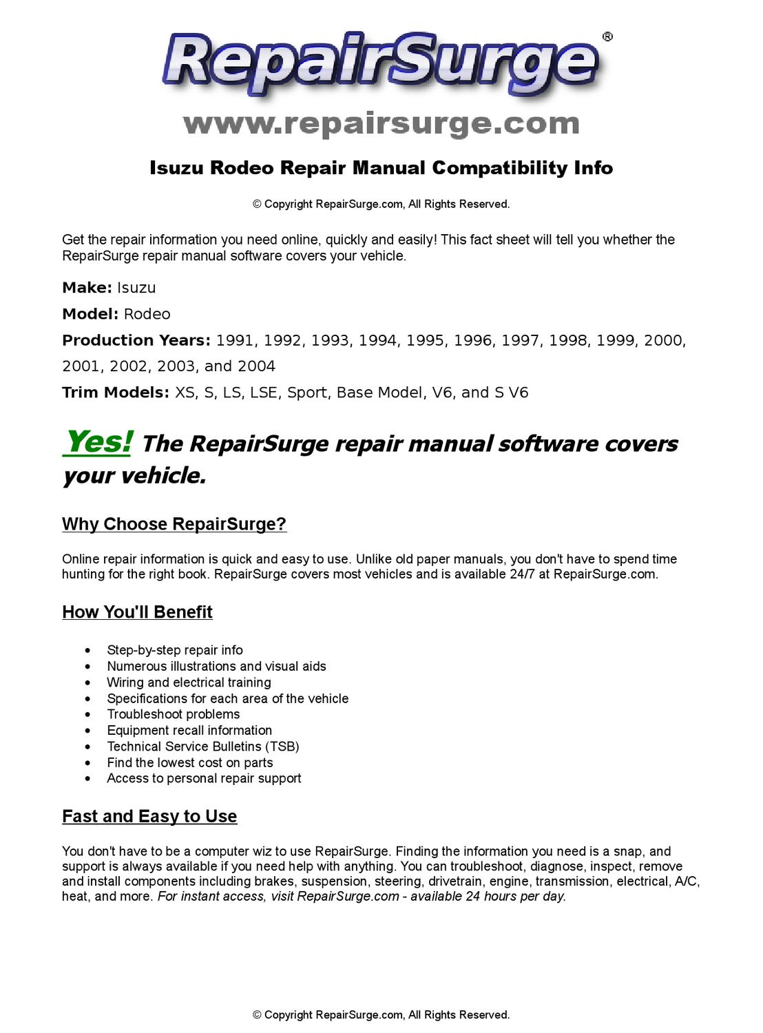 Isuzu Rodeo Online Repair Manual For 1991, 1992, 1993, 1994, 1995, 1996,  1997, 1998, 1999, 2000, 200 by RepairSurge - issuu