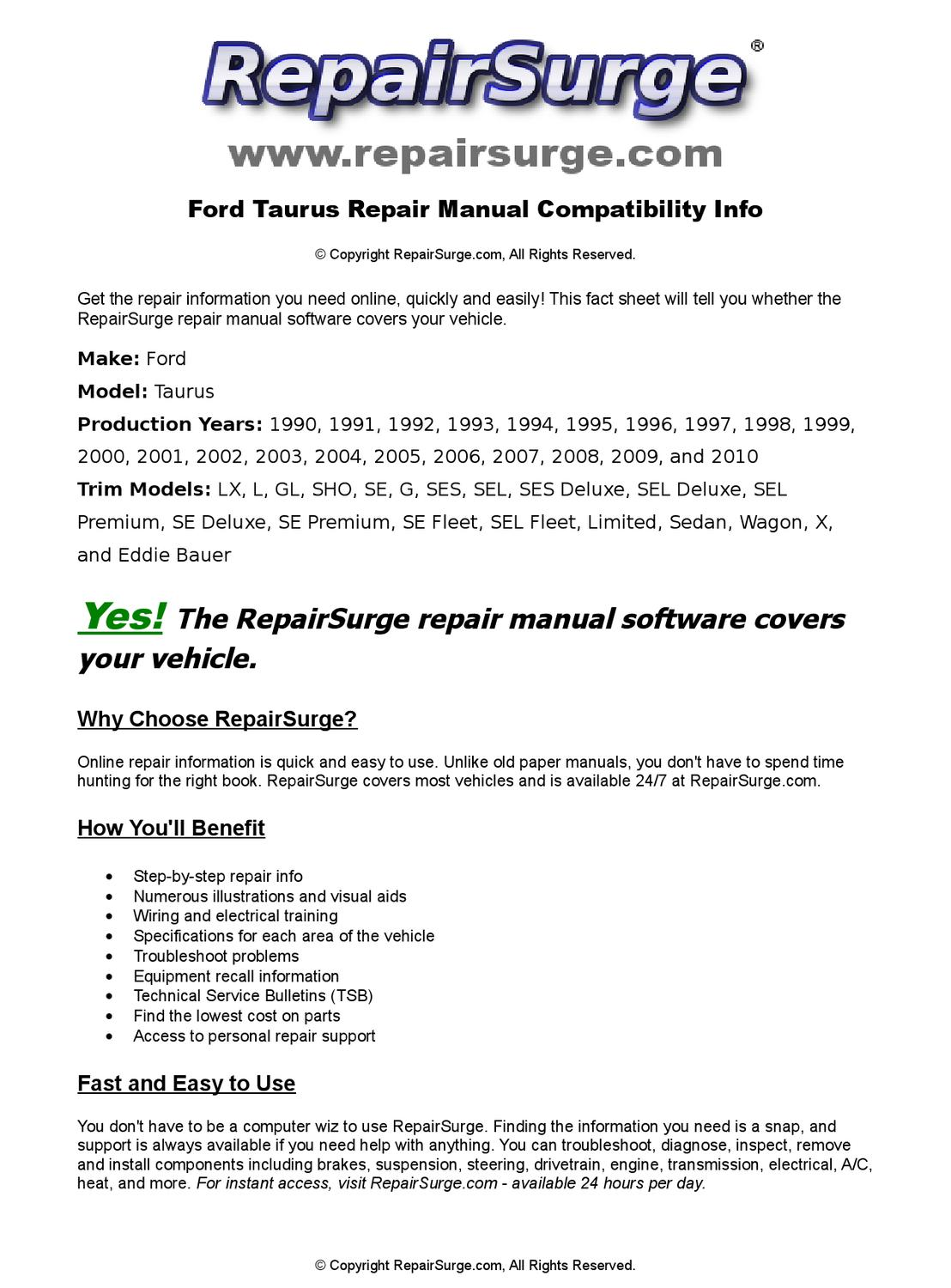 Ford Taurus Online Repair Manual For 1990, 1991, 1992, 1993, 1994, 1995,  1996, 1997, 1998, 1999, 200 by RepairSurge - issuu
