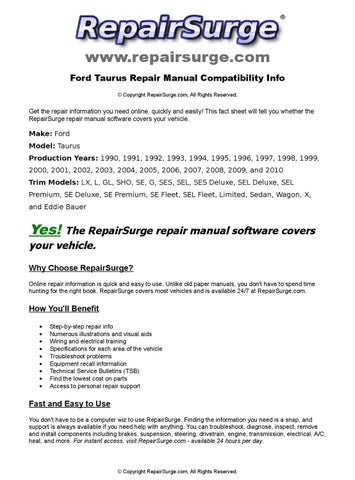 ford taurus online repair manual for 1990  1991  1992 2002 ford taurus owners manual online 2002 ford taurus service manual