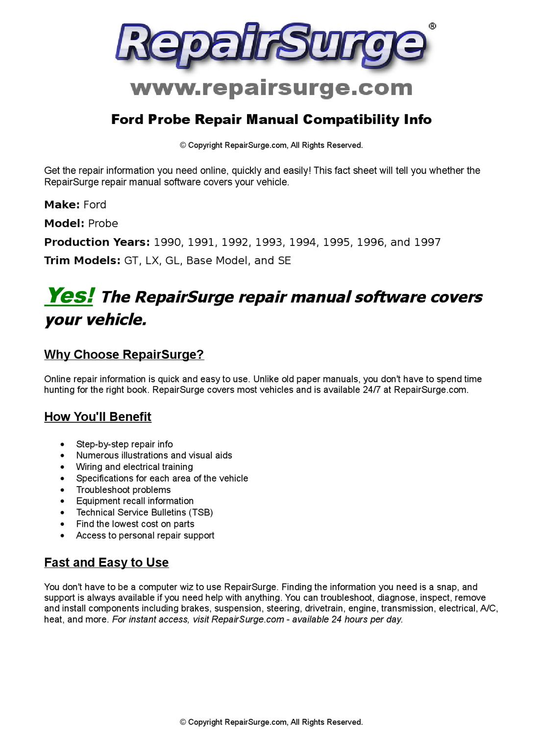Ford Probe Online Repair Manual For 1990, 1991, 1992, 1993, 1994, 1995,  1996, and 1997 by RepairSurge - issuu
