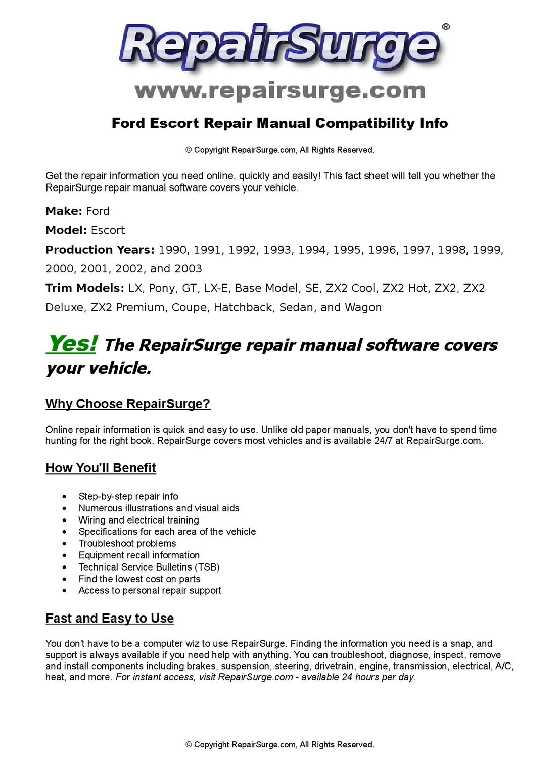 Ford Escort Online Repair Manual For 1990, 1991, 1992, 1993, 1994, 1995,  1996, 1997, 1998, 1999, 200 by RepairSurge - issuu
