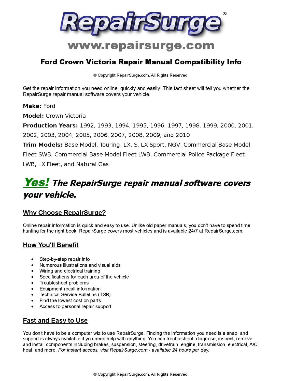 Ford Crown Victoria Online Repair Manual For 1992, 1993, 1994, 1995, 1996,  1997, 1998, 1999, 2000, 2 by RepairSurge - issuu