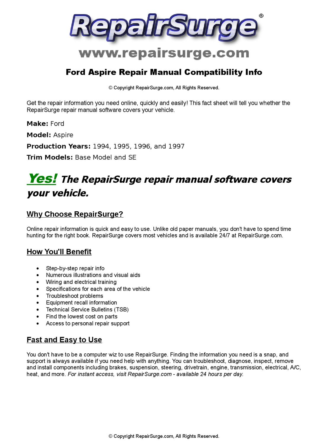 Ford Aspire Online Repair Manual For 1994, 1995, 1996, and 1997 by  RepairSurge - issuu