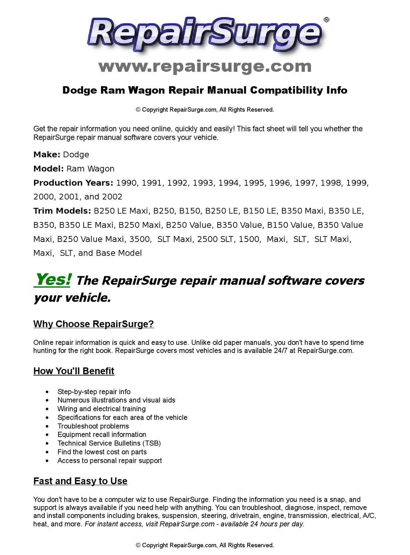 Dodge Ram Wagon Online Repair Manual For 1990, 1991, 1992, 1993, 1994,  1995, 1996, 1997, 1998, 1999, by RepairSurge - issuu