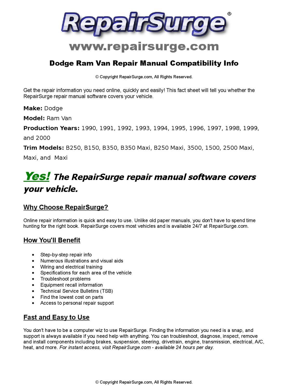 Dodge Ram Van Online Repair Manual For 1990, 1991, 1992, 1993, 1994, 1995,  1996, 1997, 1998, 1999, a by RepairSurge - issuu