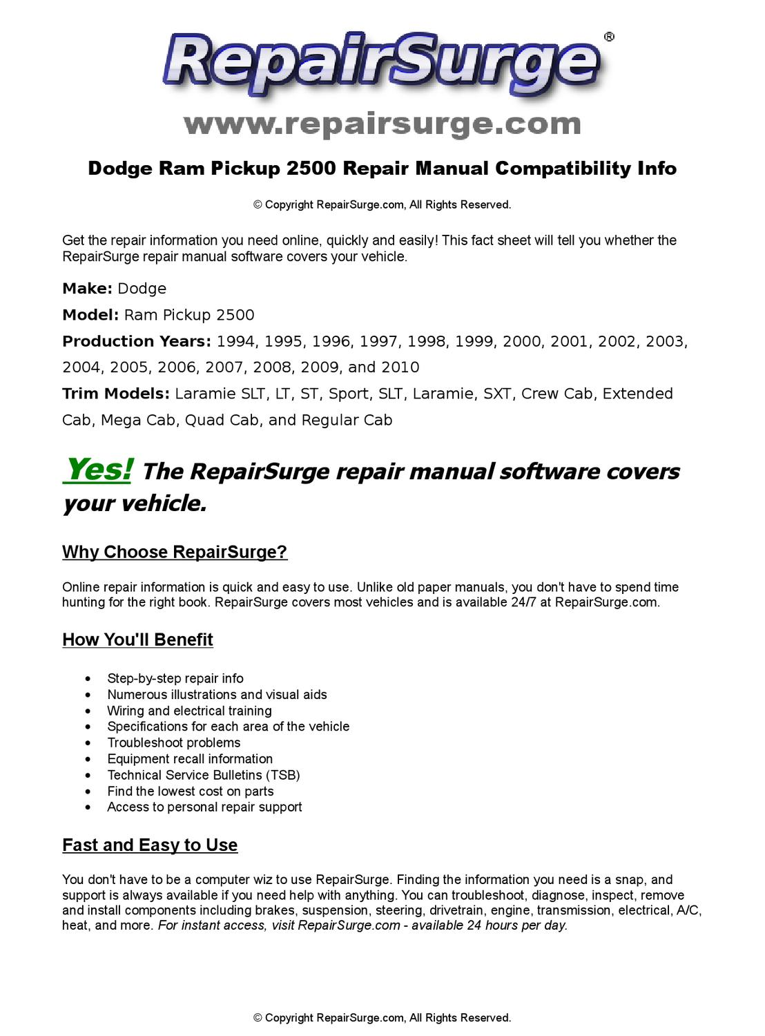 Dodge Ram Pickup 2500 Online Repair Manual For 1994, 1995, 1996, 1997,  1998, 1999, 2000, 2001, 2002, by RepairSurge - issuu
