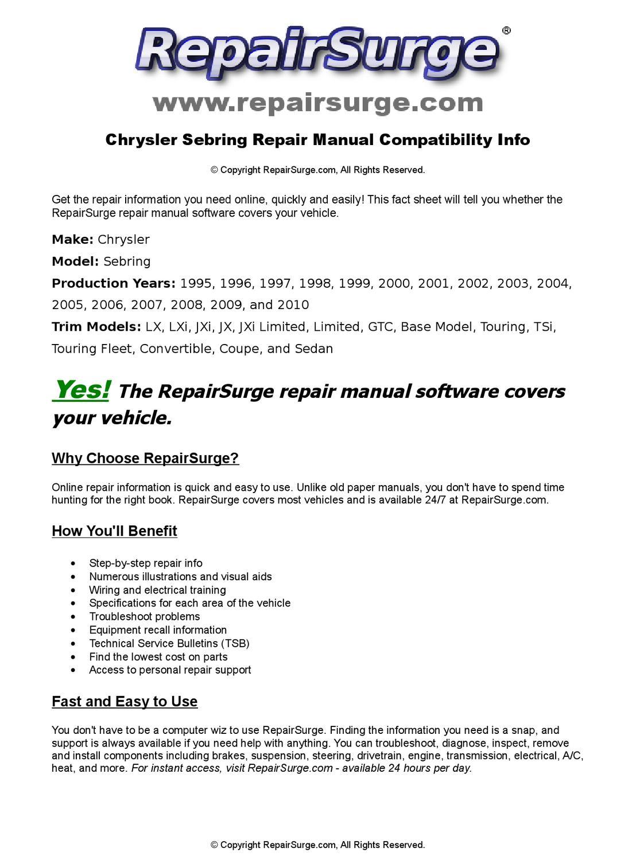 Chrysler Sebring Online Repair Manual For 1995, 1996, 1997, 1998, 1999, 2000,  2001, 2002, 2003, 2004 by RepairSurge - issuu