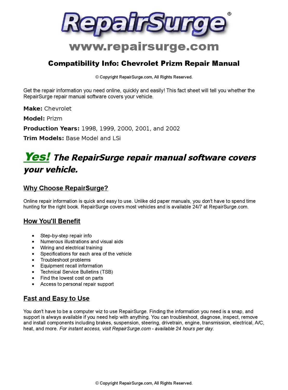 Chevrolet Prizm Online Repair Manual For 1998, 1999, 2000, 2001, and 2002  by RepairSurge - issuu