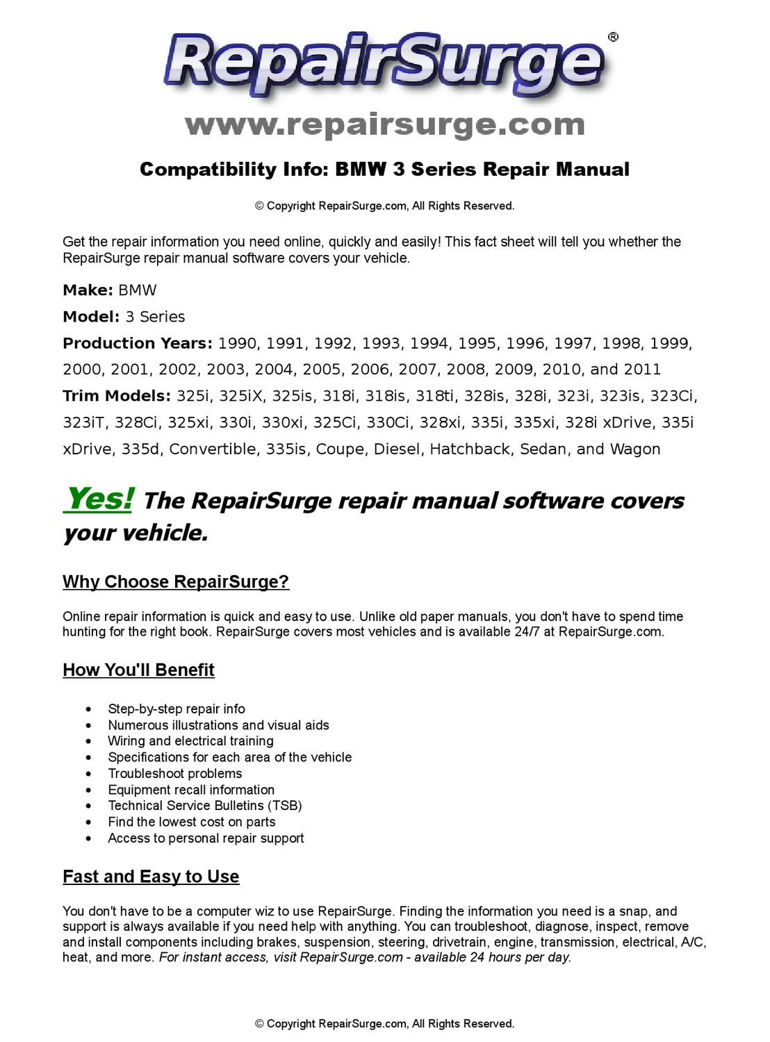 BMW 3 Series Online Repair Manual For 1990, 1991, 1992, 1993, 1994, 1995,  1996, 1997, 1998, 1999, 20 by RepairSurge - issuu