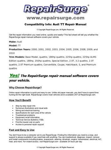 2001 audi tt quattro roadster owners manual pdf