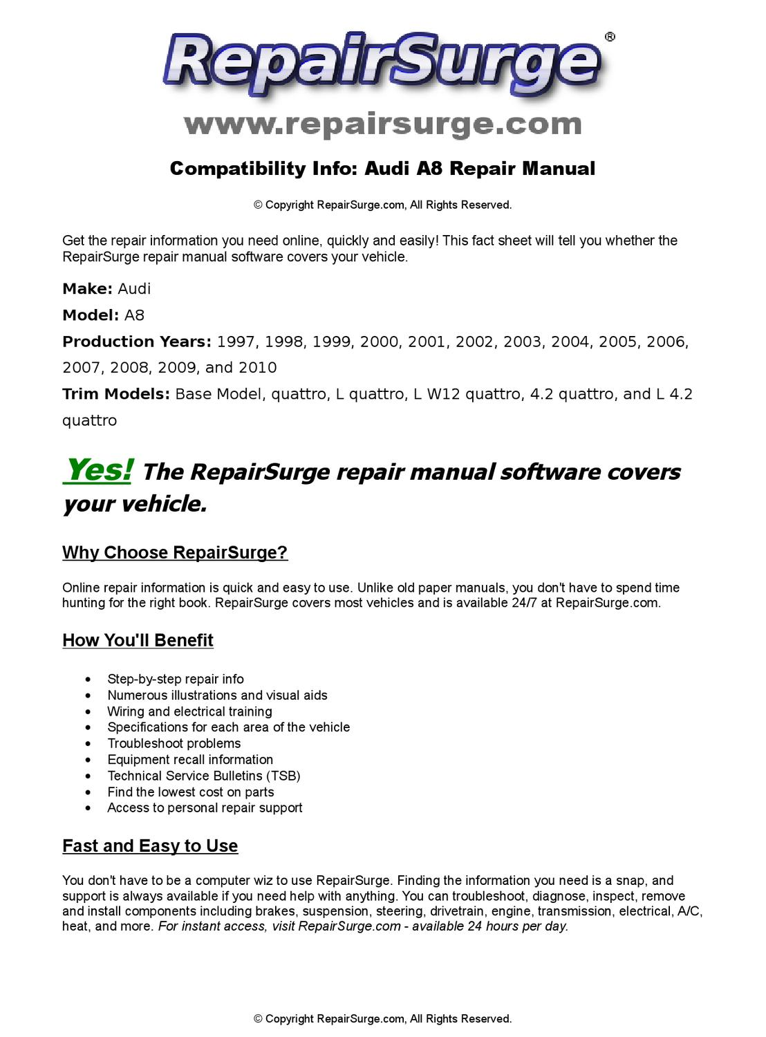 Audi A8 Online Repair Manual For 1997, 1998, 1999, 2000, 2001, 2002, 2003,  2004, 2005, 2006, 2007, 2 by RepairSurge - issuu