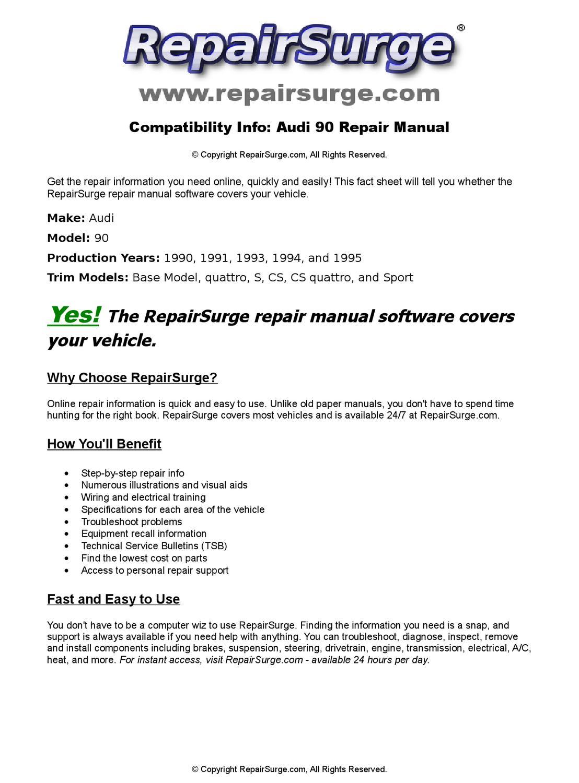 Audi 90 Online Repair Manual For 1990, 1991, 1993, 1994, and 1995 by  RepairSurge - issuu