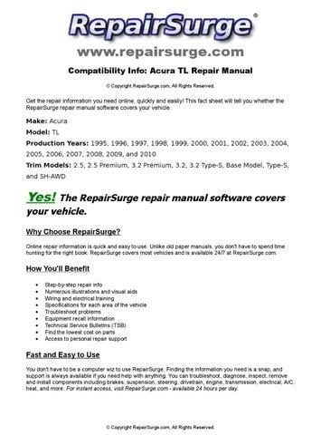 Acura TL Online Repair Manual For 1995 1996 1997 1998 1999 2000 2001 2002 2003 2004 2005