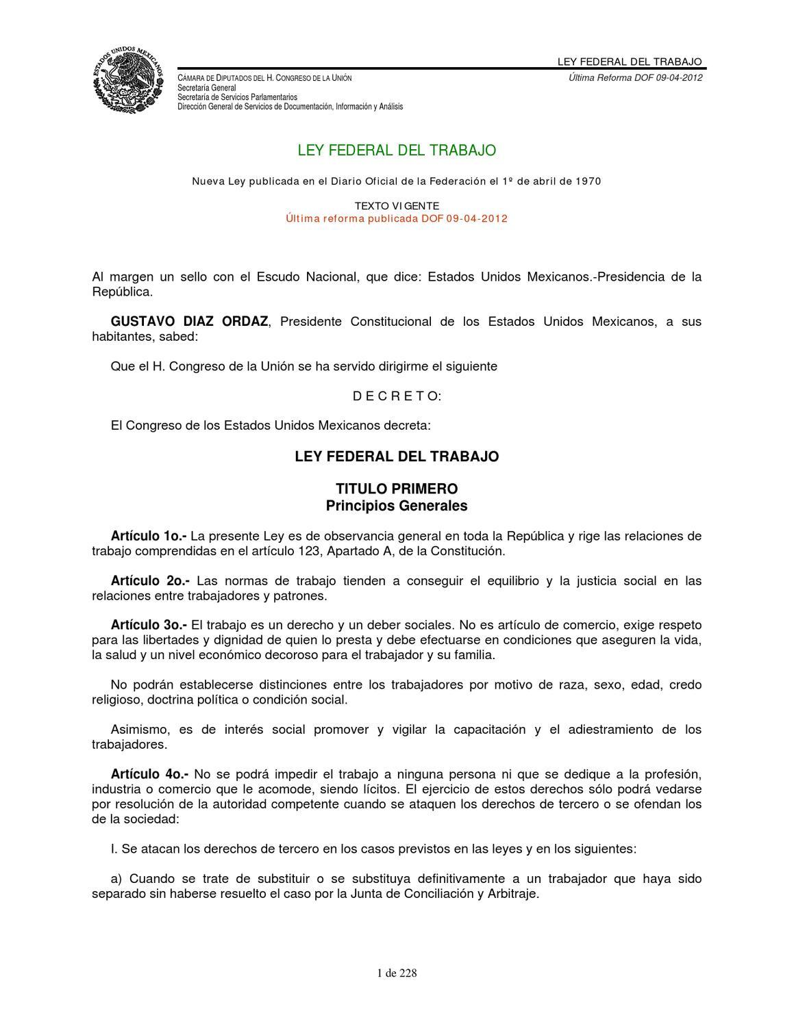 Ley Federal del Trabajo by SETEP PUEBLA - issuu