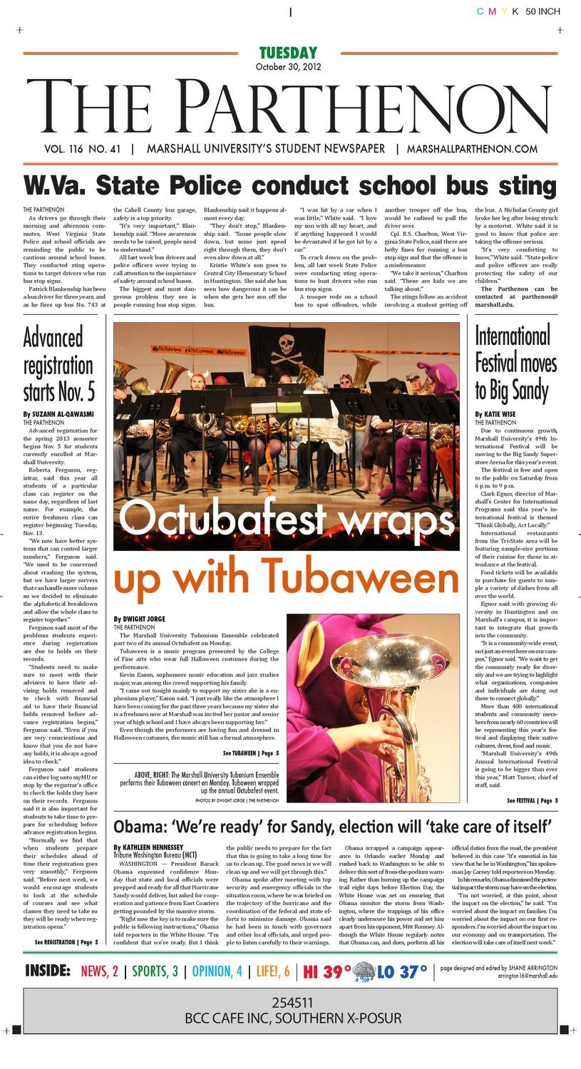 October 30, 2012 Online Edition by Marshall Parthenon - issuu