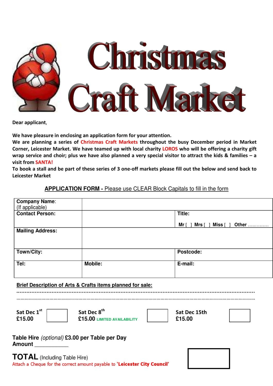 xmas craft booking form by joe harkin