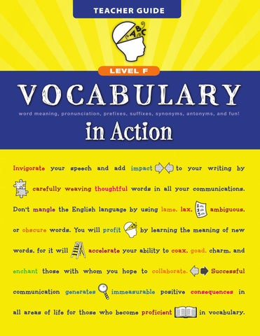 Vocabulary In Action Level F By Loyola Press Issuu