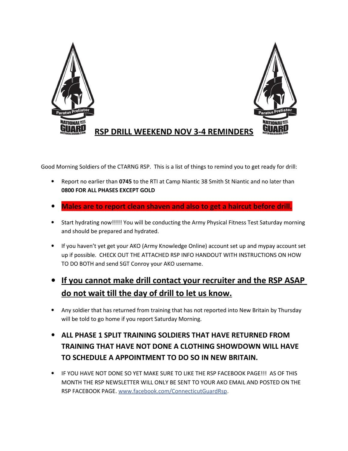 November Drill Reminder By Ct Guard Rsp Issuu