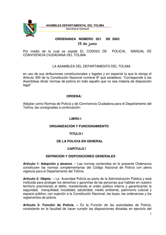 CODIGO DE POLICIA TOLIMA by Mauricio Martinez - Issuu