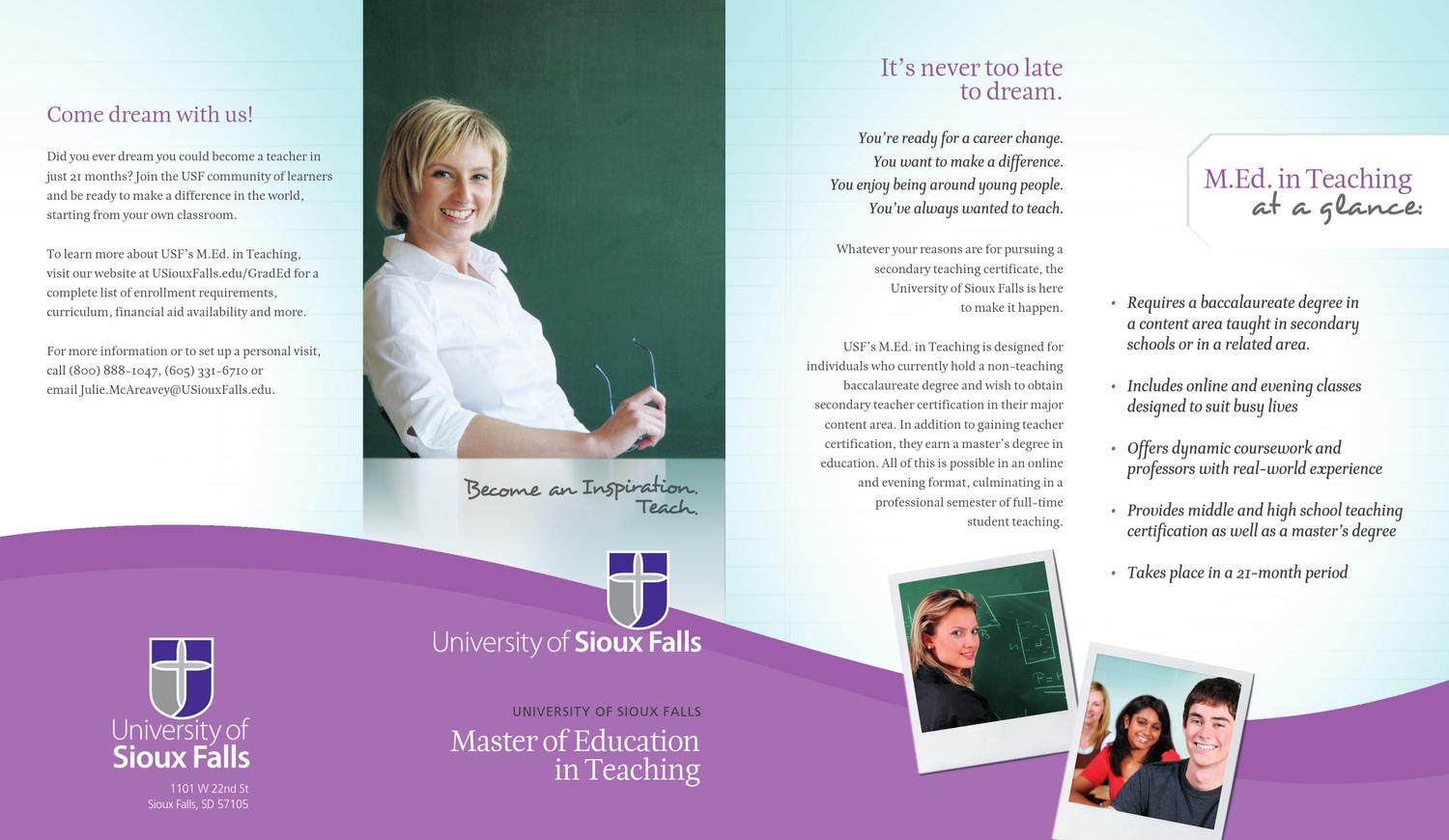 Usf Teacher Certification Brochure By University Of Sioux Falls Issuu