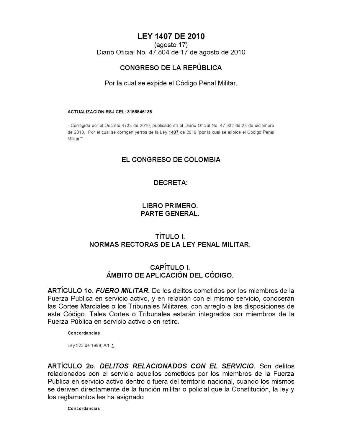 CODIGO PENAL MILITAR by Mauricio Martinez - issuu