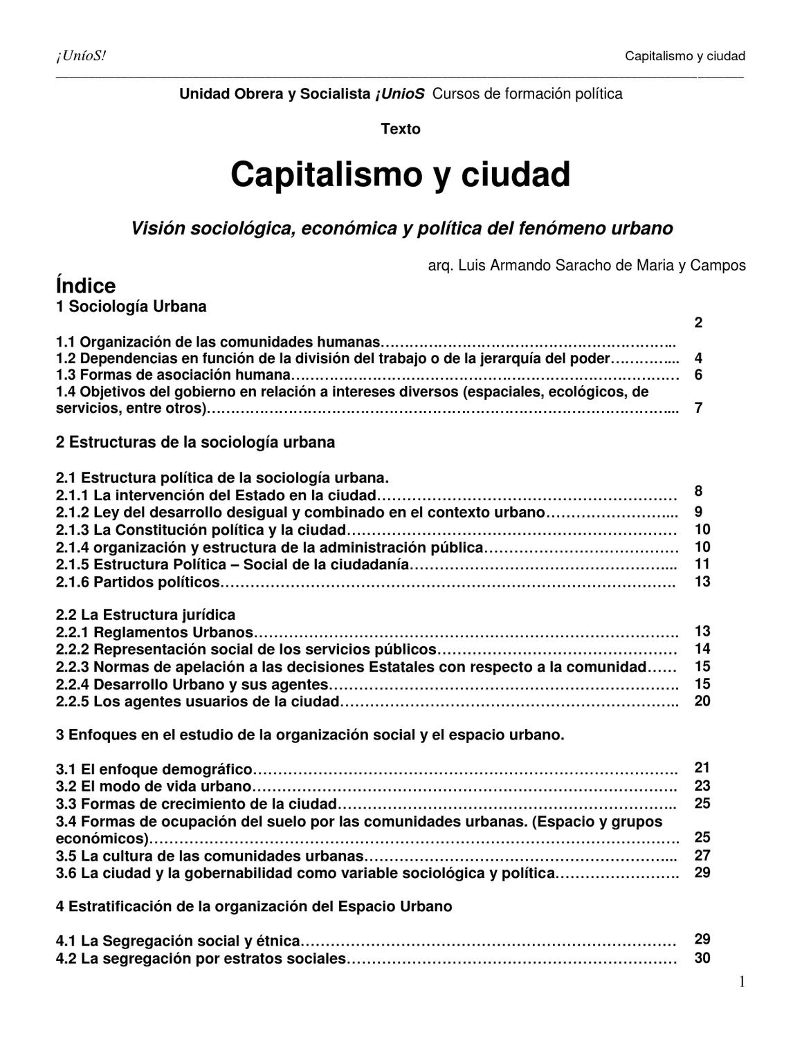 Capitalismo Y Ciudad By Uníos Issuu